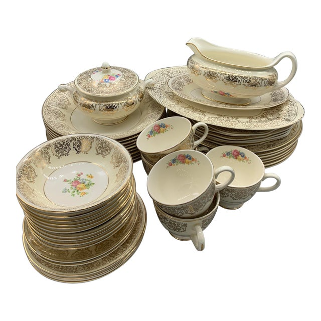 Homer Laughlin Eggshell Nautilus Gold Wedding China - Set of 40 For Sale
