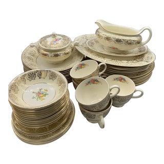 Homer Laughlin Eggshell Nautilus Gold Wedding China - Set of 46 For Sale