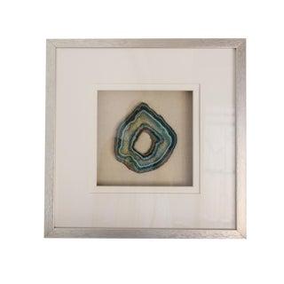 Silver Wood Framed Blue Green Agate Slice For Sale