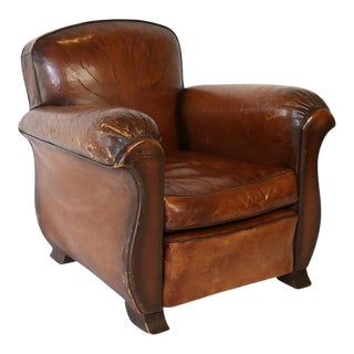 Vintage French Leather Club Chair For Sale