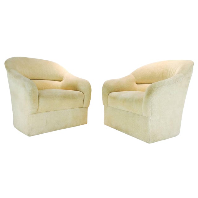 Pair of Ward Bennett Barrel Back Club Chairs For Sale