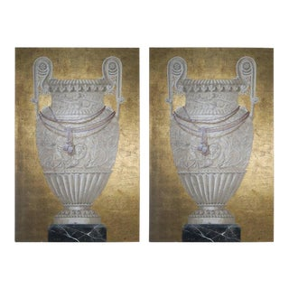 20th Century Monumental Painted and Gold Leaf Paintings - A Pair For Sale