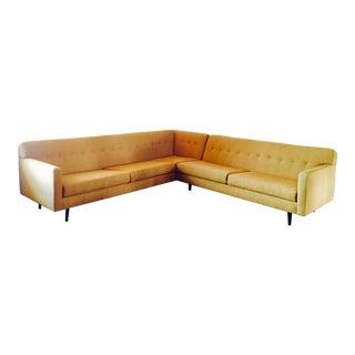 Gold Contemporary Custom Made Sectional Sofa