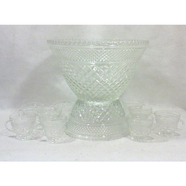 Pedestal Glass Serving Bowl and Cups - Set of 10 - Image 2 of 5