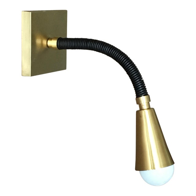 Avantgarden Meander Leather and Brass Sconce For Sale