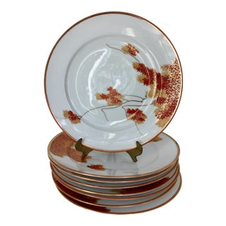 1930s Japanese Maple Foliage Plates - Set of 8 For Sale