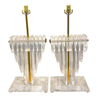 Large Springer Style 'Cityscape' Lucite and Brass Lamps - a Pair For Sale