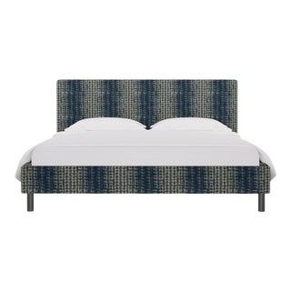 California King Tailored Platform Bed in Shibori For Sale
