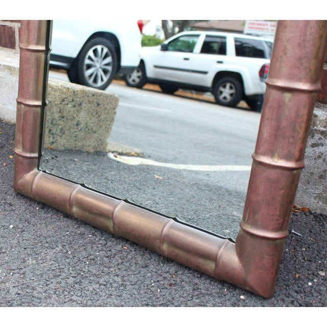 Copper Mid-Century Modern Faux Bamboo Weathered Copper Rectangular Mirror For Sale - Image 7 of 10