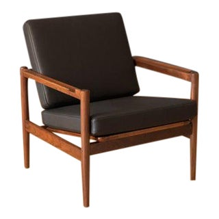 Mid Century Walnut and Leather Lounge Chair by Børge Jensen & Sonner For Sale