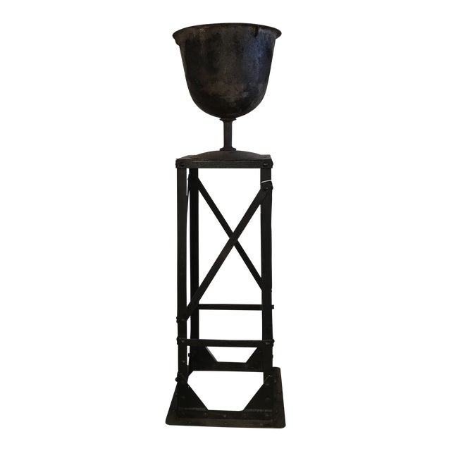 Iron Urn and Stand Circa 1900 - 2 Pieces For Sale
