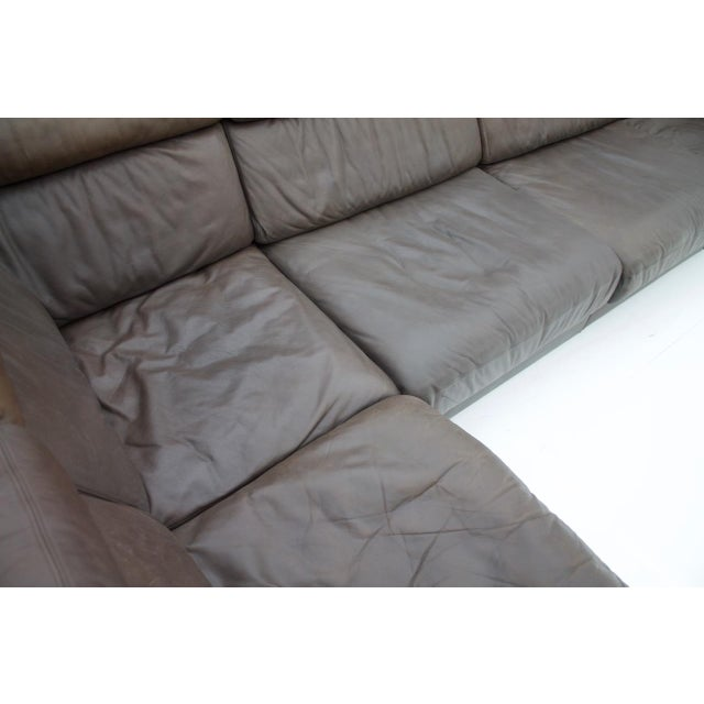 Large Modular Leather Sofa in Dark Brown Leather by De Sede, Switzerland, 1970s For Sale - Image 10 of 11