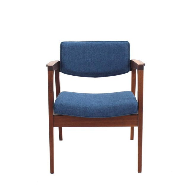 Blue Set of 4 Solid Walnut Newly Upholstered Gunlocke Chairs For Sale - Image 8 of 11