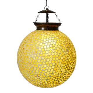 Yellow Orange Mosaic Globe Pendant Lamp For Sale