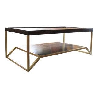 Onzaga Modern Brass & Walnut Coffee Table