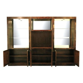 Trio of Hekman Tall Campaign Cabinets in Patchwork Burl Preview