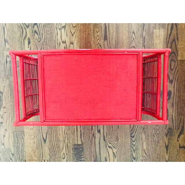 Vintage Red Bamboo Tray Table or Magazine Rack - Image 2 of 5