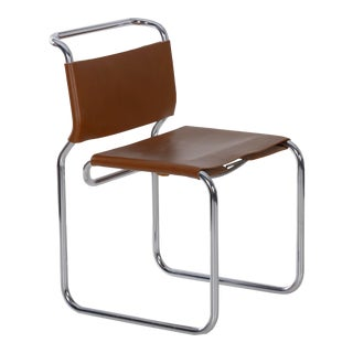 """Vintage """"ch66"""" Chrome and Leather Tubular Side Chair by Nicos Zographos For Sale"""