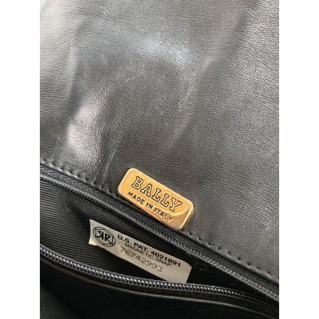 Vintage Bally Handbag Quilted Black Lamb Skin Leather For Sale - Image 12 of 13