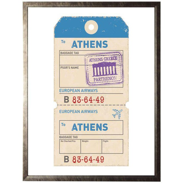 Presenting an Athens travel ticket framed in a pewter shadowbox.