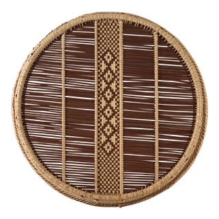 Round Vintage Straw Woven Basket Tray For Sale