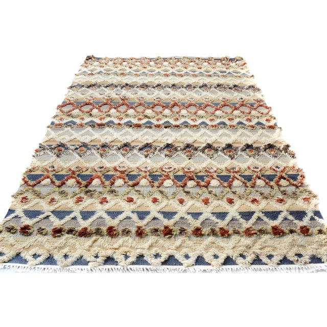 "Contemporary Moroccan High and Low Arya Moshe Ivory & Rust Wool Rug - 5'5"" X 8'3"" For Sale - Image 3 of 7"