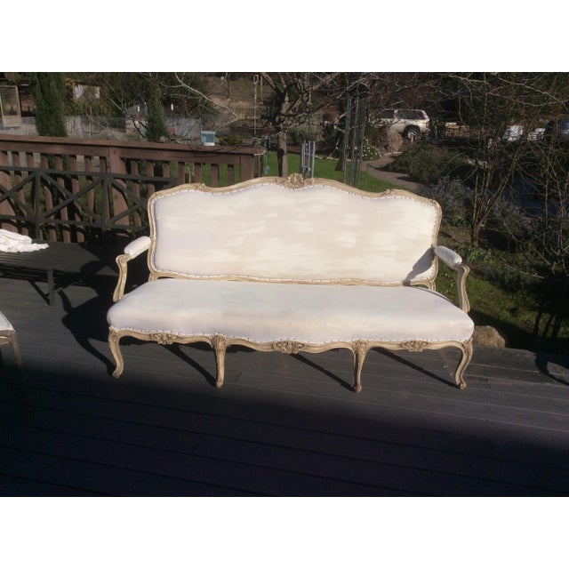 Tan Worn Painted Finish Antique French Settee For Sale - Image 8 of 11