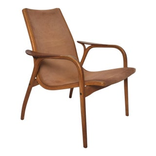 Yngve Ekstrom for Swedese Lamino Cognac Leather & Wood Lounge Chair For Sale