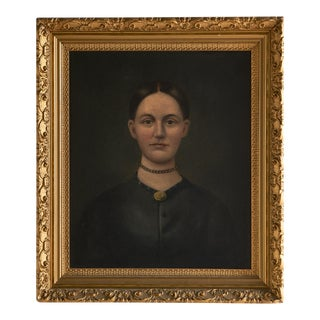 Portrait of a Woman, Unknown Artist (American, 19th Century) Oil on Canvas For Sale