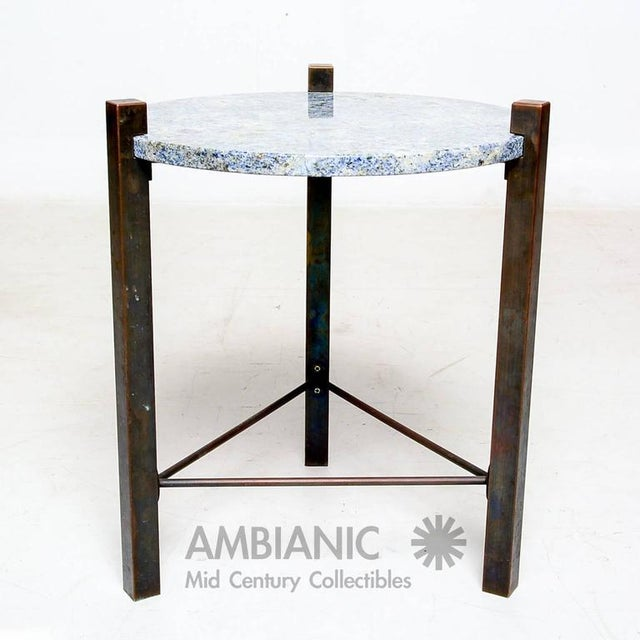 Blue Granite & Solid Bronze Side Table For Sale - Image 4 of 10