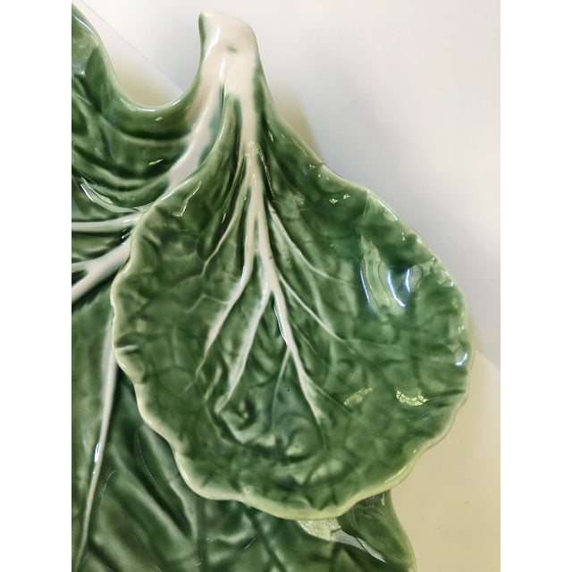Ceramic Made in Portugal-Majolica Green Cabbage Leaf Serving Platter and Dip Bowl For Sale - Image 7 of 11