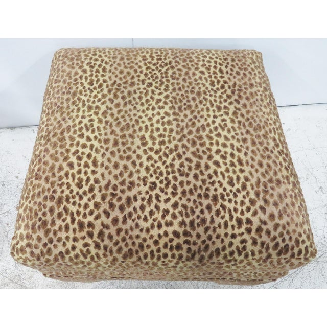 Leopard Upholstered Ottomans - A Pair For Sale - Image 4 of 5