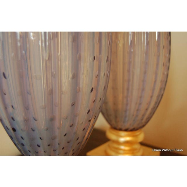 Vintage Murano Opaline Glass Table Lamps Lavender For Sale - Image 10 of 10