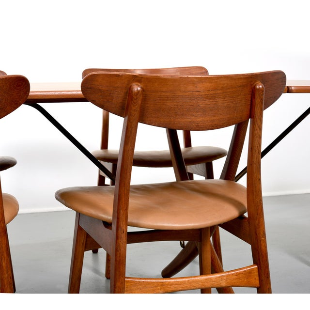 Metal Hans Wegner Dining Set, Model At-304 Dining Table and Model Ch-30 Dining Chairs For Sale - Image 7 of 10