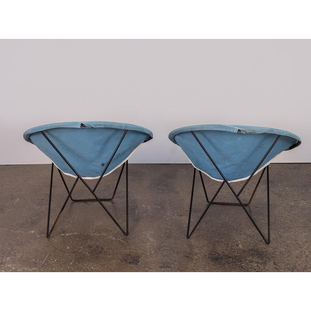 Canvas Outdoor Blue Hoop Chairs - A Pair For Sale - Image 7 of 10