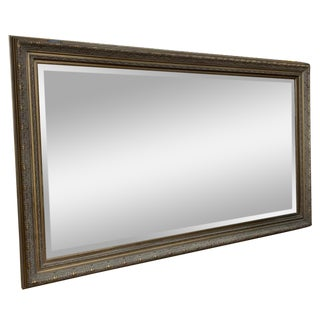 Extra Large Antiqued Gold Frame Beveled Glass Mirror For Sale