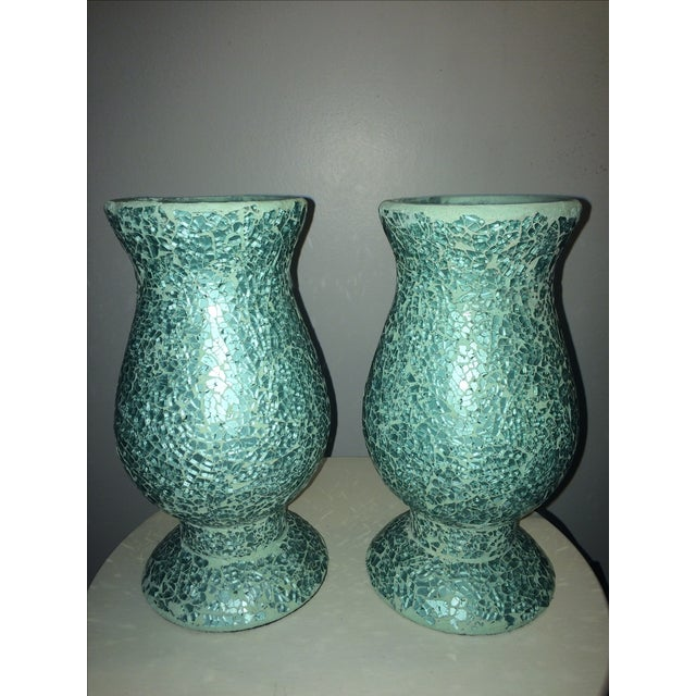 Mosaic Hurricane Lamps in Tiffany Blue - Image 2 of 4
