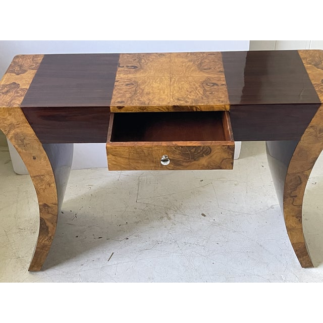 Vintage Italian Rosewood and Burlwood Console or Desk For Sale - Image 4 of 13
