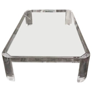 Lucite and Glass Coffee Table Likely by Steve Chase For Sale