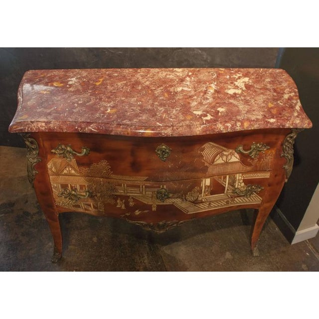 19th Century Louis XV Style Brown Lacquer Chinoiserie Bronze-Mounted Commode - Image 2 of 8
