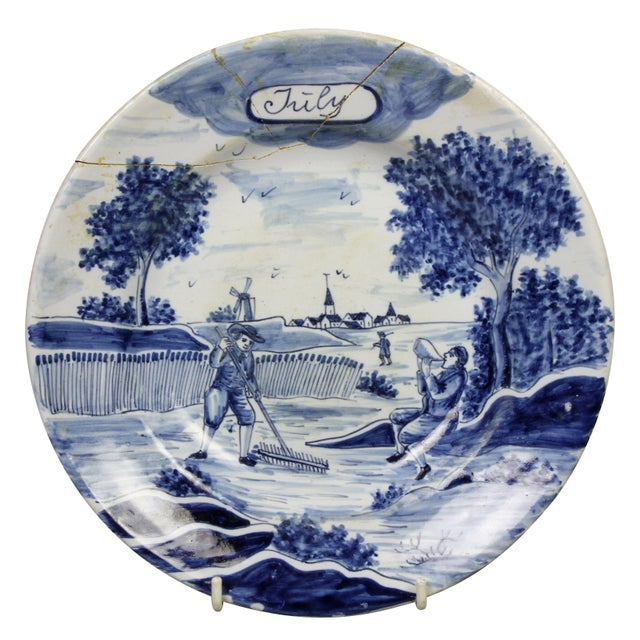 Collection of Delft Blue and White Month Plates - Set of 14 For Sale - Image 4 of 13
