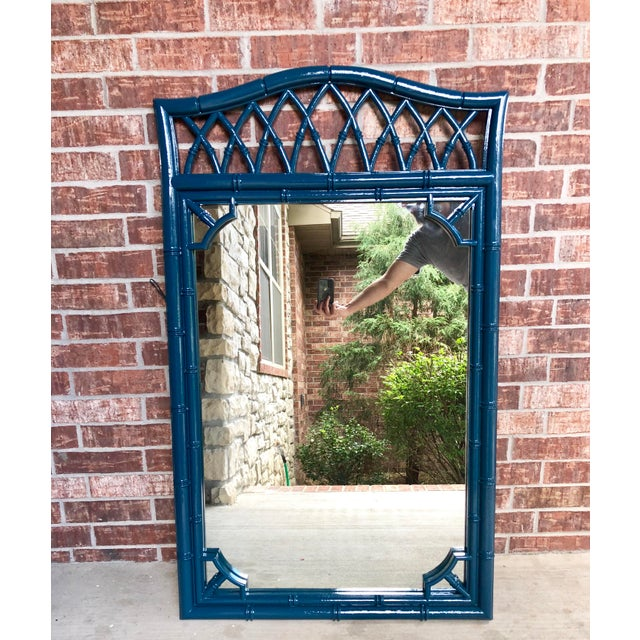 Thomasville Faux Bamboo High Gloss Sapphire Blue Mirror For Sale - Image 10 of 10