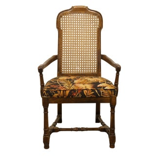 Late 20th Century Drexel Heritage Italian Provincial Cane Back Dining Arm Chair For Sale
