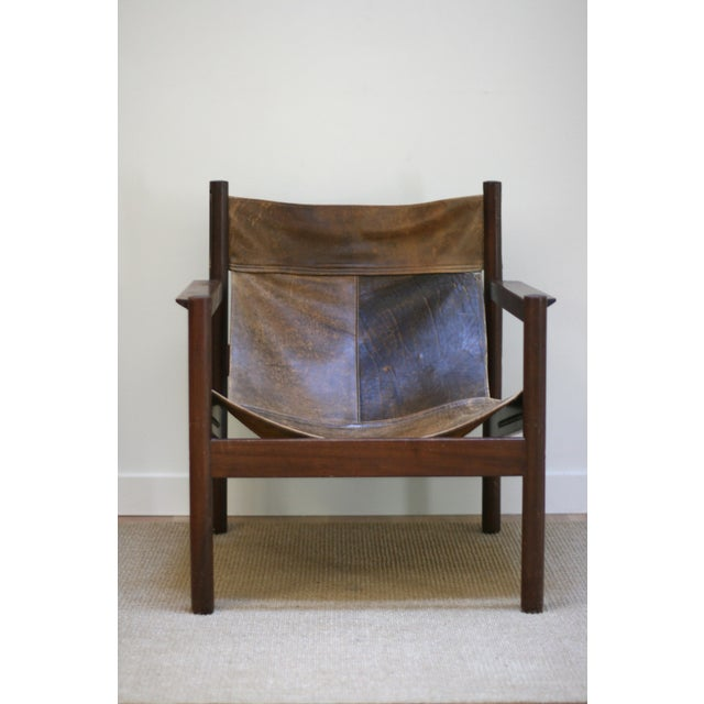 Mid-Century Modern Michel Arnoult Leather Sling Chair For Sale - Image 3 of 9