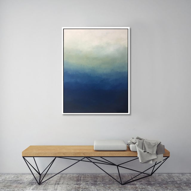 "FRAMED GICLÉE PRINTS: ""Abstract Blue Ombré"" - Framed Print * Frame style: floating frame made from wood. * Frame Color:..."