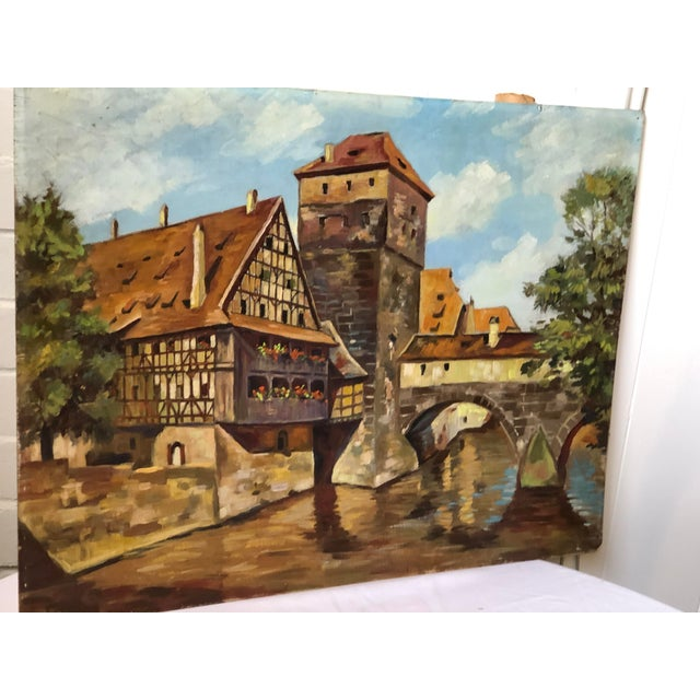 Wood Impressionist Oil Painting of a Continental Townscape For Sale - Image 7 of 12