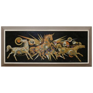 Multicolored Kaleidoscope Style Horses Painting Signed Badilla For Sale