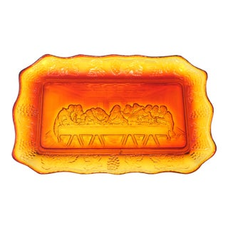 """Vintage Amberina """"Last Supper"""" Plate by Tiara For Sale"""