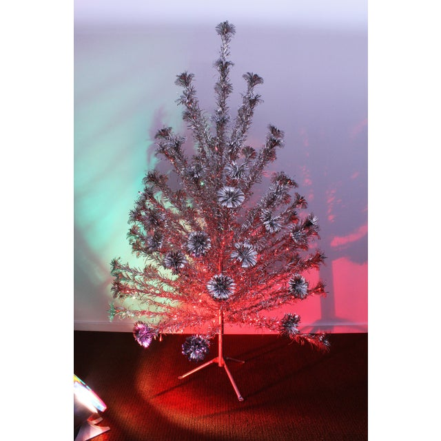 Mid-Century Modern Vintage 1950's Silver Forest Aluminum Christmas Tree &  Light Wheel - A - Vintage 1950's Silver Forest Aluminum Christmas Tree & Light Wheel