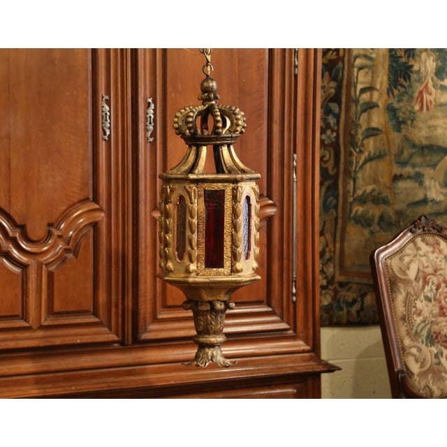 18th Century Italian Carved Giltwood Three-Light Lantern With Stained Glass For Sale - Image 12 of 13